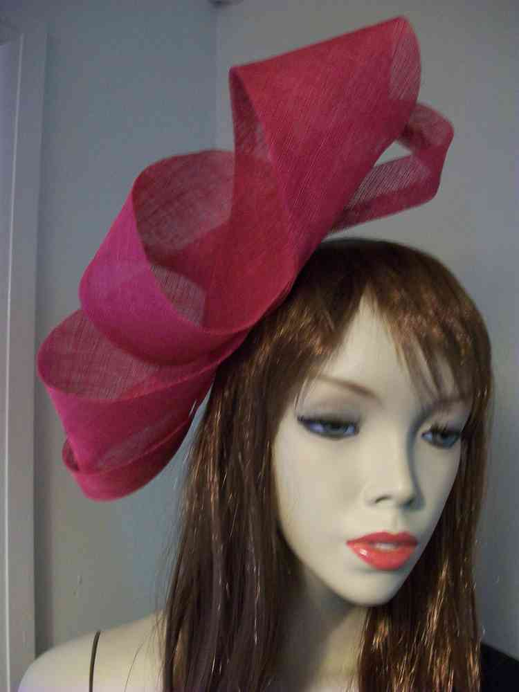 Fuchsia Pink Fascinator Loop Hat - www.twistfashion.co.uk 36f26cb7490