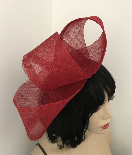 Red Loop Fascinator Hat