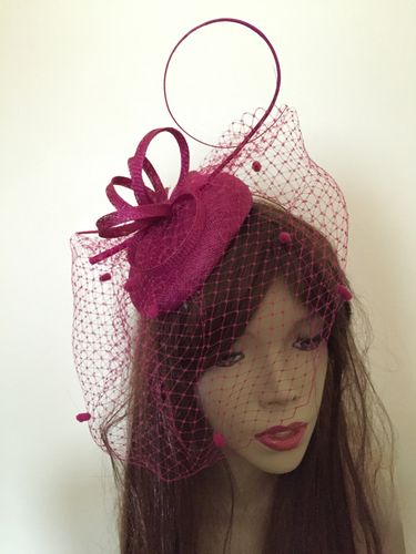 Fuchsia Pillbox Disc Fascinator