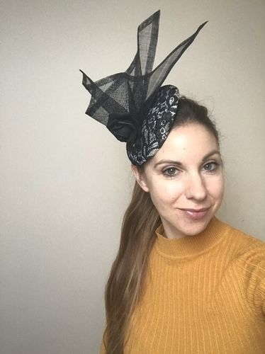 Black Lace and Cream Fascinator Hat
