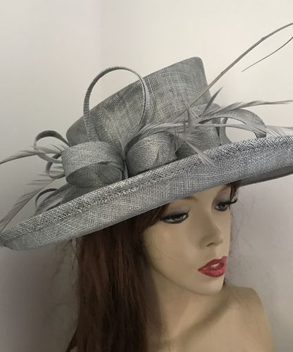 Silver Grey Large Brim Hat