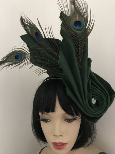 Dark Forest Green Peacock feather Hat