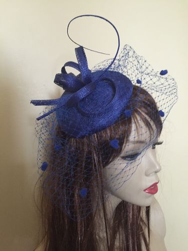 Cobalt Blue Pillbox Button Hat