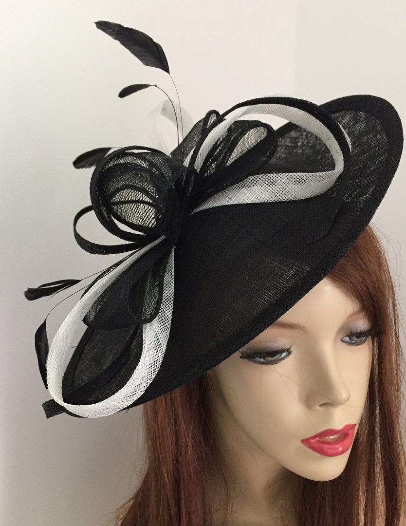 Black and White Oval Saucer Fascinator - www.twistfashion.co.uk 5323c6c77ce