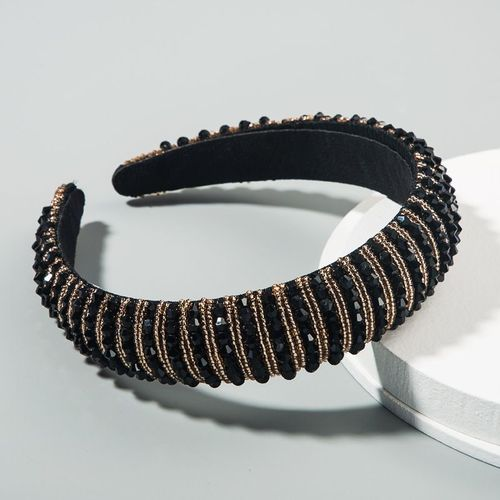 Black Gold Beaded Headband