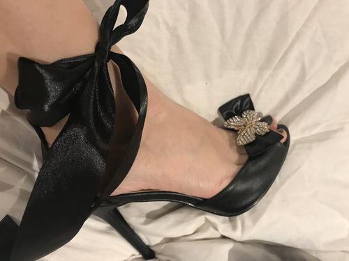 Black Butterfly Ribbon Heels