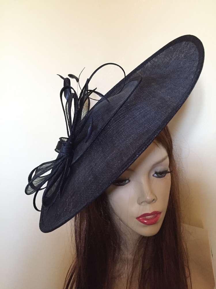 Navy Blue Big Saucer Hat - www.twistfashion.co.uk eb72e13a080