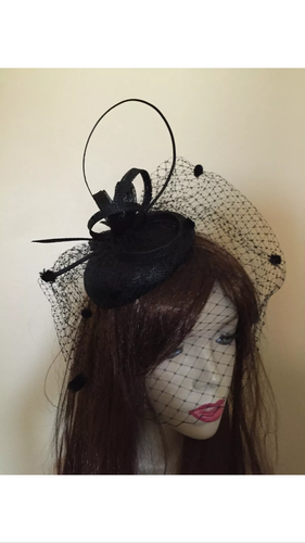 Black Pillbox Fascinator hat
