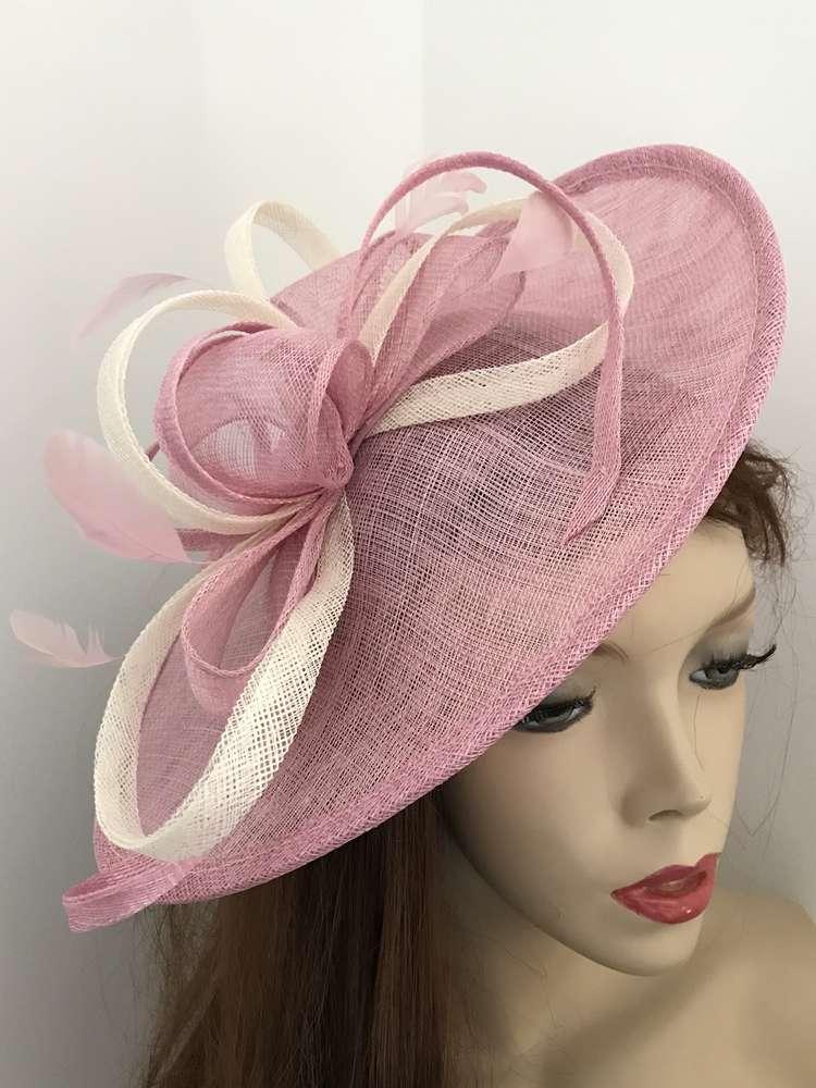 Pink ivory Saucer Fascinator hat - www.twistfashion.co.uk 5b82a7903cf