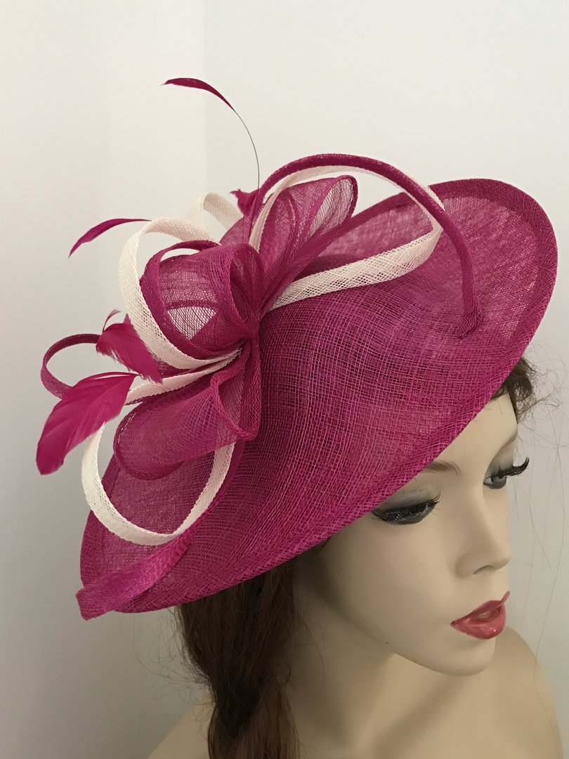 Fuchsia Ivory Fascinator Hat - www.twistfashion.co.uk af882415d25