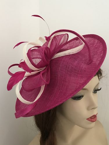 Fuchsia Ivory Fascinator Hat