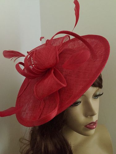 Poppy Red Saucer Fascinator Hat