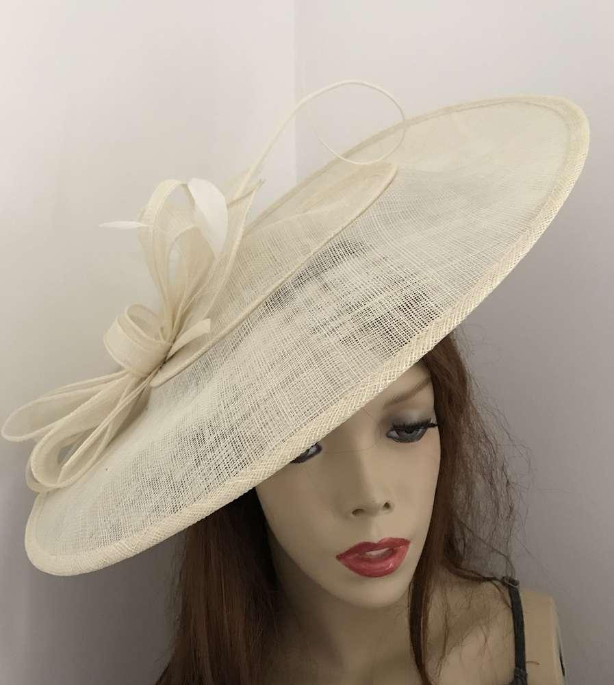 Cream ivory Large Saucer Hat - www.twistfashion.co.uk ae50e179071