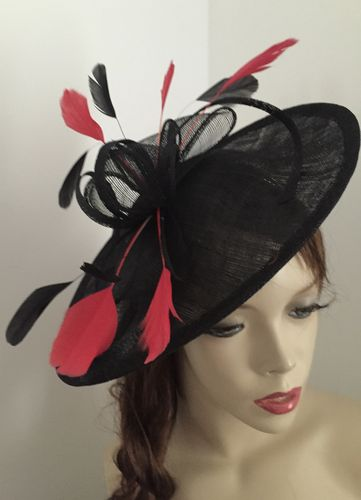 Black Red Saucer Fascinator