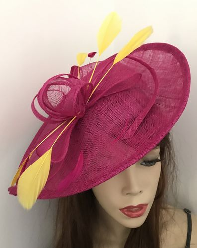 Fuchsia Yellow Wedding Hat