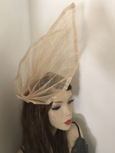Beige Nude Fan Fascinator Hat