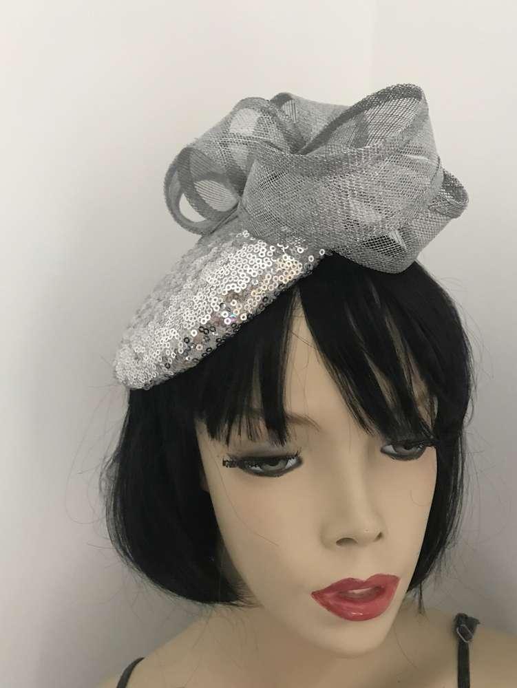 Silver Sequin Pillbox Hat - www.twistfashion.co.uk 9e8be58f5dc