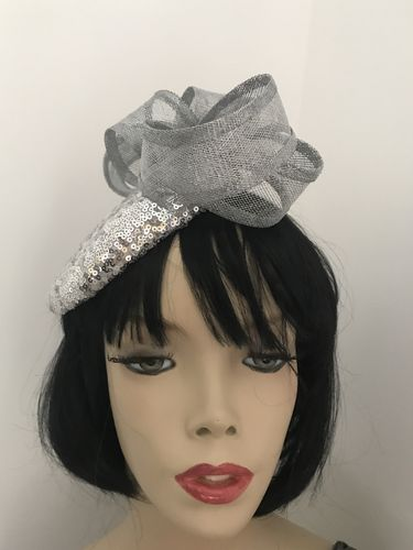 Silver Sequin Pillbox Hat