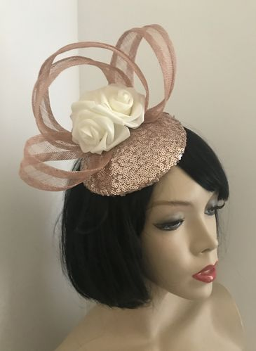 Rose Gold Sequin Pillbox Hat