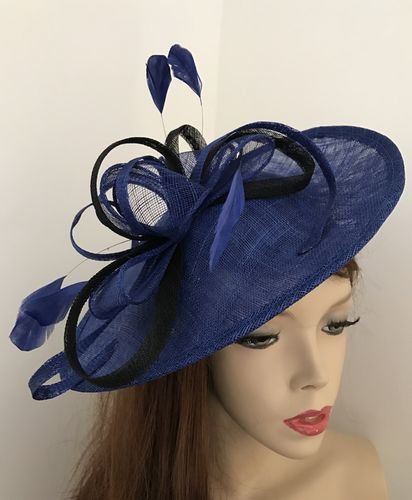 Cobalt Blue Black Fascinator
