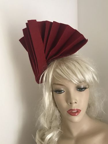 Burgundy Pleated Fascinator
