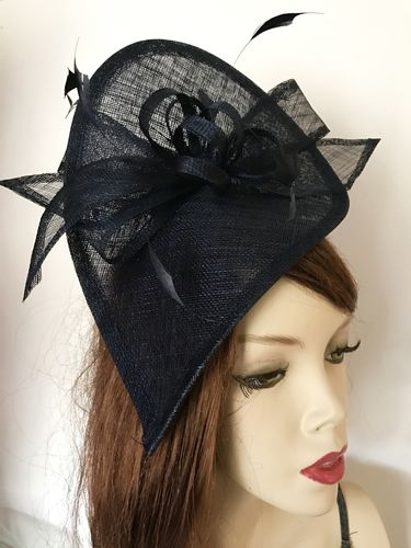 Navy Teardrop Fascinator