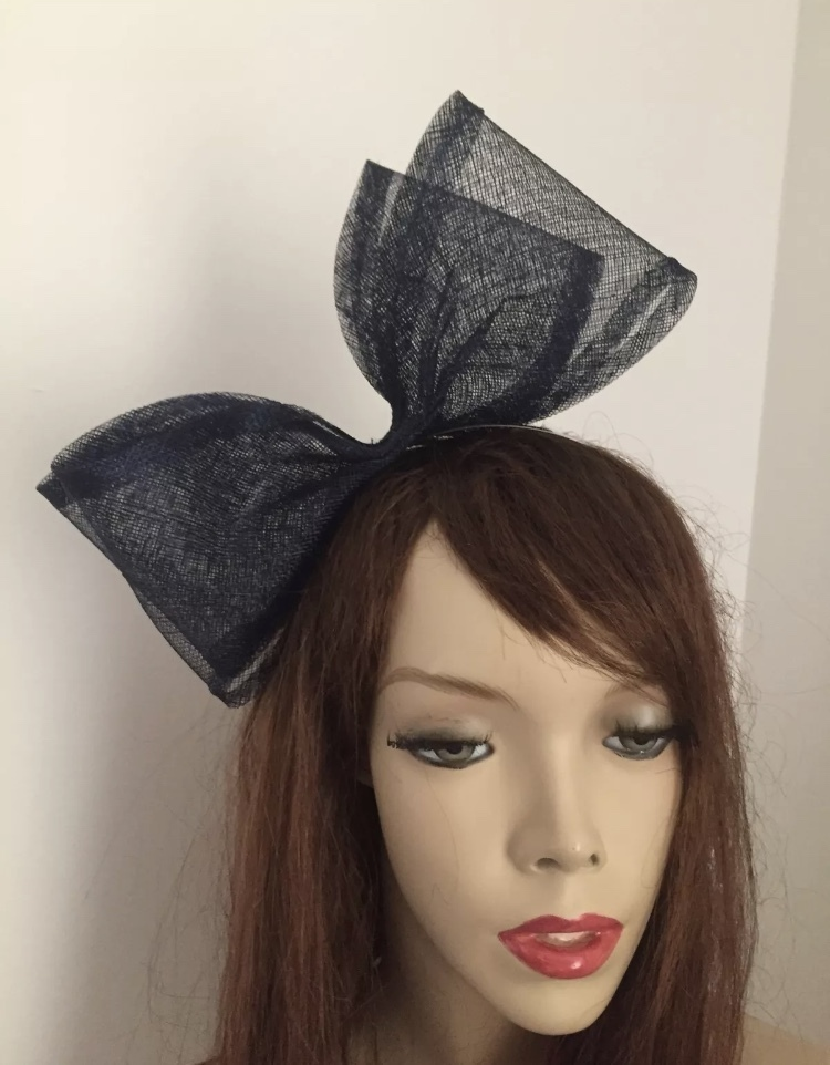 Navy Bow Fascinator - www.twistfashion.co.uk c7eb1639412