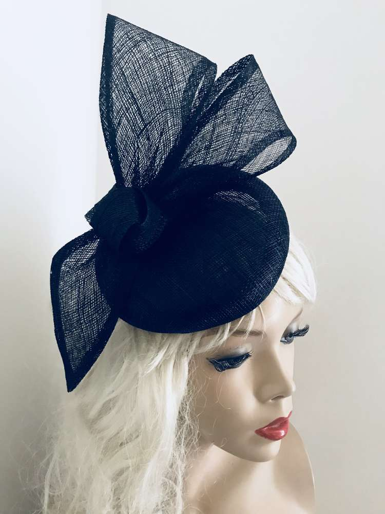 Navy Bow Pillbox Fascinator hat - www.twistfashion.co.uk 27b33f3742f