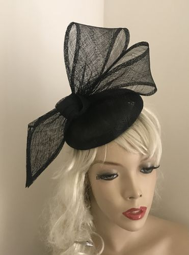 Black Bow Pillbox Fascinator hat