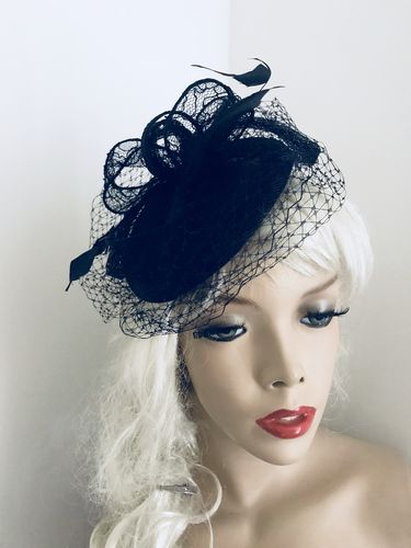 Navy Lace Pillbox Fascinator hat