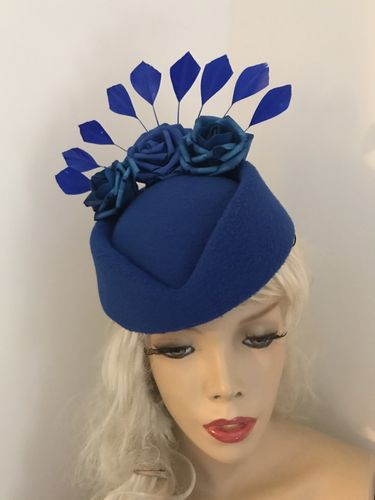 Cobalt Blue Pillbox Feather Hat
