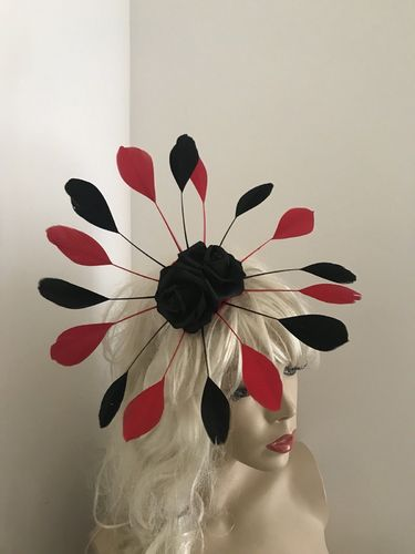 Black Red Feather Fascinator hat