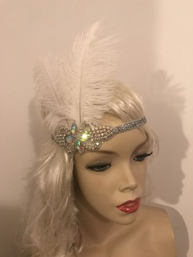 1920s Silver White Feather Headband