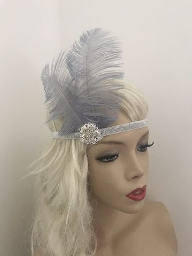1920s Silver Grey Feather Headband