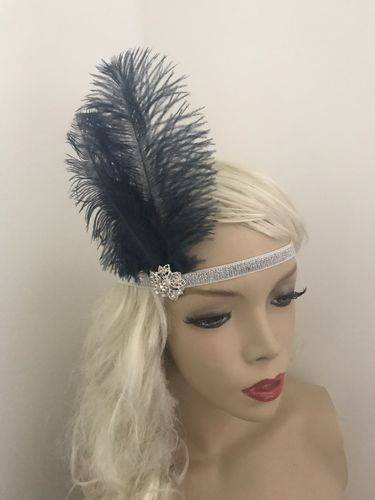 Gatsby Silver Navy Feather Headband