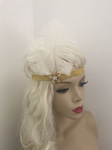 1920s Gold White Feather Headband