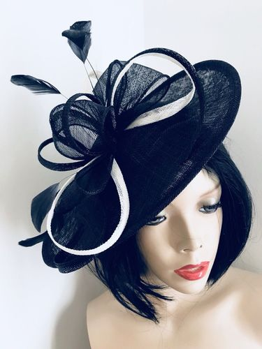 Navy Blue Ivory Saucer Hat
