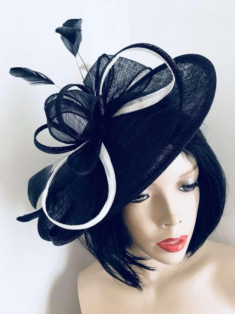 Navy Blue Ivory Saucer Hat - www.twistfashion.co.uk e96fb51a1cc