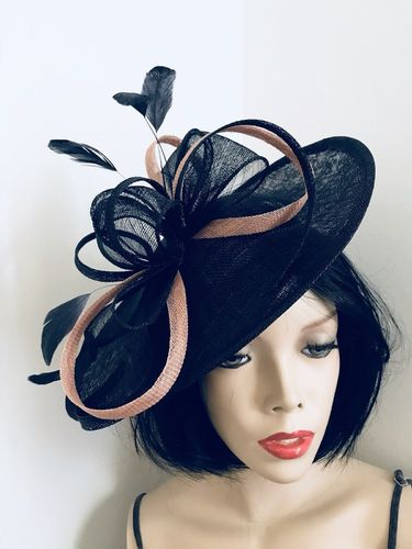 Navy Blue Nude Saucer Hat