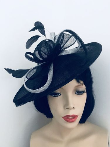 Navy Blue Silver Saucer Hat