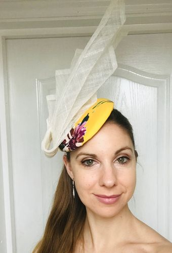 Mustard Floral Pillbox Fascinator