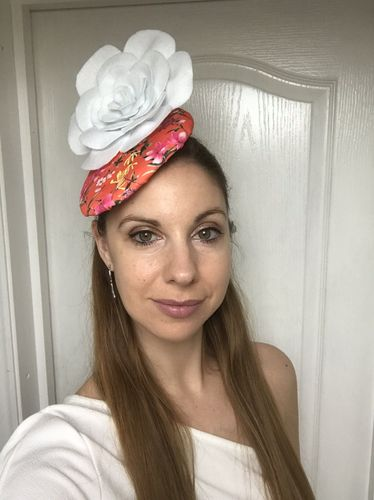 Orange Floral Pillbox Hat