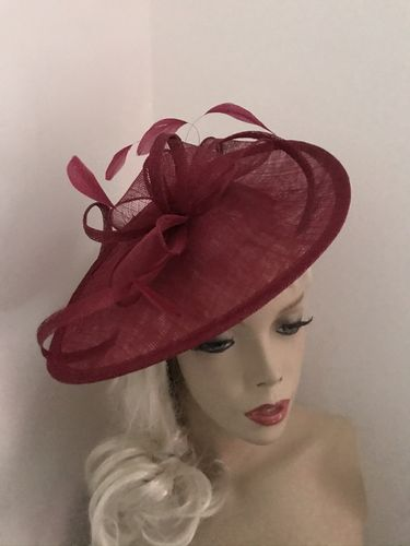 Burgundy Red Saucer Fascinator Hat