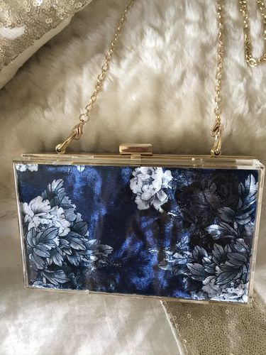Navy Gold Box clutch Bag