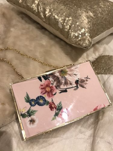 Pink Floral Gold Box clutch Bag