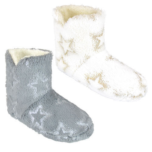 Grey Silver Star Slipper Booties