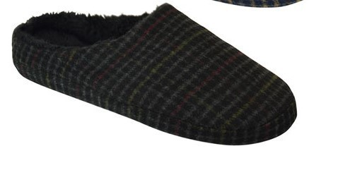 Black Check Slip On Slippers