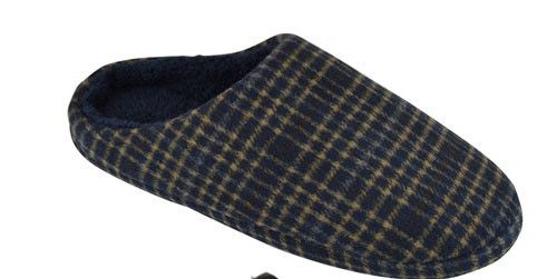 Navy Check Slip On Slippers