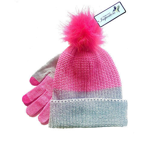 Pink Grey Hat&Gloves