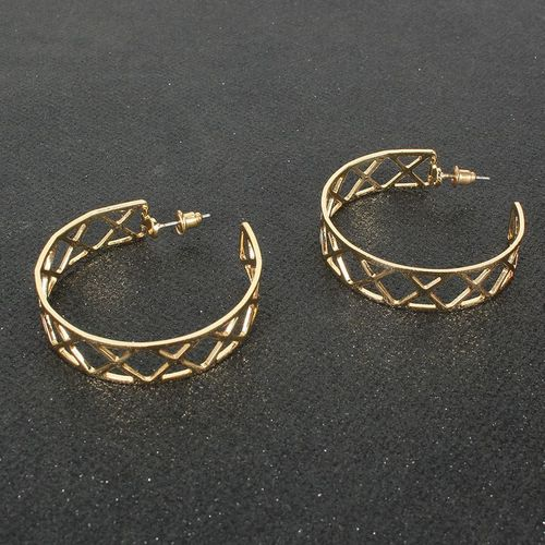 Gold Hoop Geometric Earrings